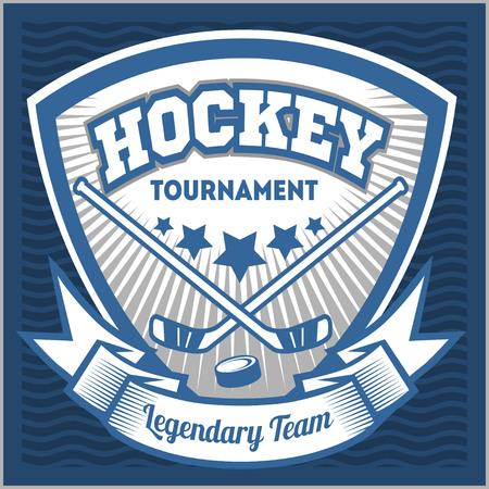 hockey stick: Hockey sport team logotype template. Hockey team logo template. Hockey emblem, logotype template, t-shirt apparel design. Sport badge for tournament or championship. Illustration