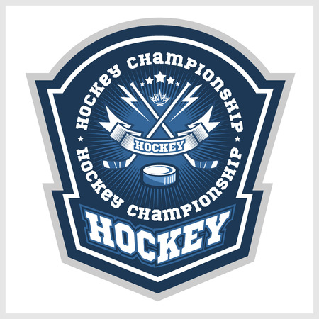 Hockey championship logo labels on shield with two crossed hockey sticks. Vector sport logo design