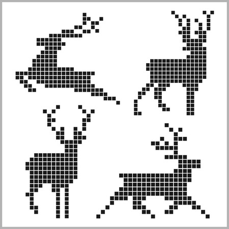 Pixel silhouettes of deers isolated on white bacground Illustration