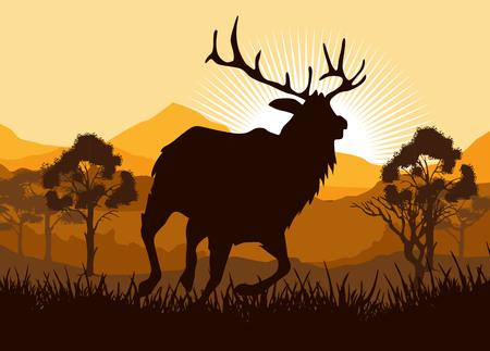 gunman: Silhouette running Deer in wild nature landscape illustration Illustration