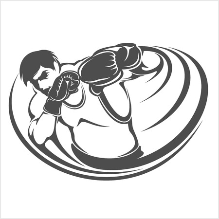 boxing sport: Boxing Print vector illustration on white background