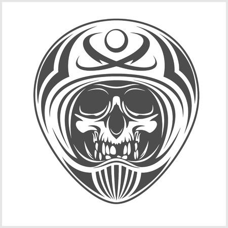 throttle: skull wearing motocross helmet isolated on white