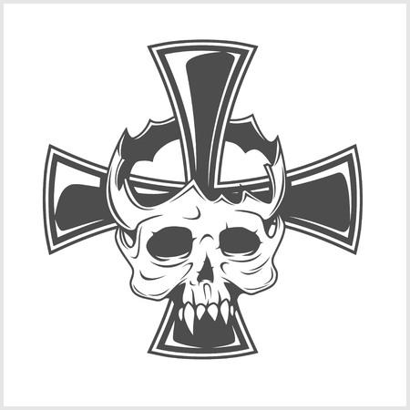 iron cross: Skull and German cross isolated on white Illustration