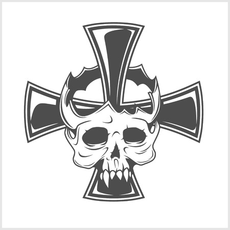 Skull and German cross isolated on white Illustration
