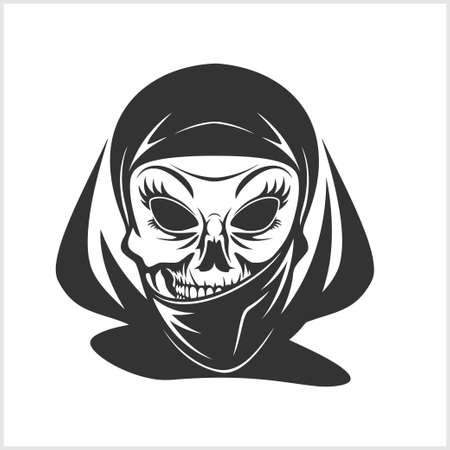 fiend: Arabic skull in hijab isolated on white Illustration