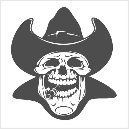 old cowboy: Skull in cowboy hat - gangster. isolated on white. Illustration