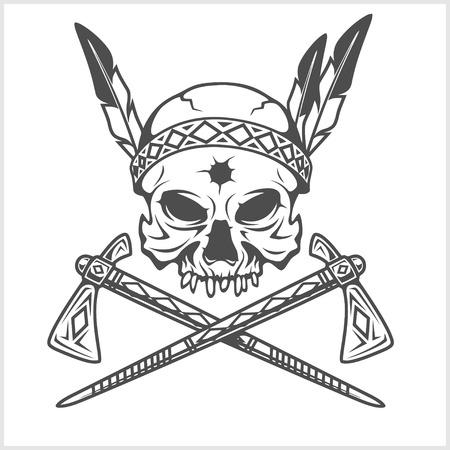 アメリカ ・ インディアン チーフ頭蓋骨とトマホーク白の分離  イラスト・ベクター素材