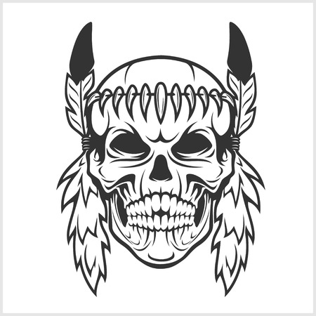 American Indian Chief Skull isolated in white Illustration