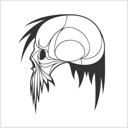 devil's bones: Demon scary Skull isolated on white background Illustration