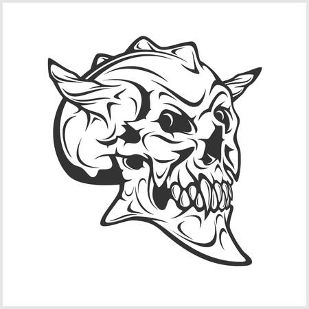 Cráneo del demonio miedo aisladas sobre fondo blanco