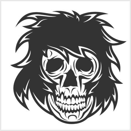 demonio: Cráneo del demonio miedo aisladas sobre fondo blanco