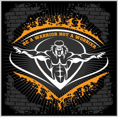 Bodybuilding emblem in vintage style on dark grunge background. Ilustração