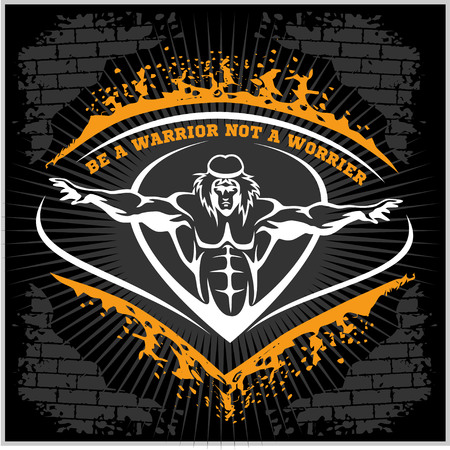 bodybuilding: Bodybuilding emblem in vintage style on dark grunge background. Illustration