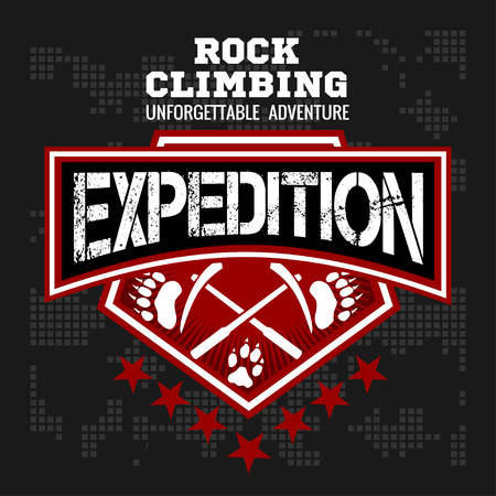 expedition: Rock climbing expedition. Mountain climbing - vector emblem on dark background.