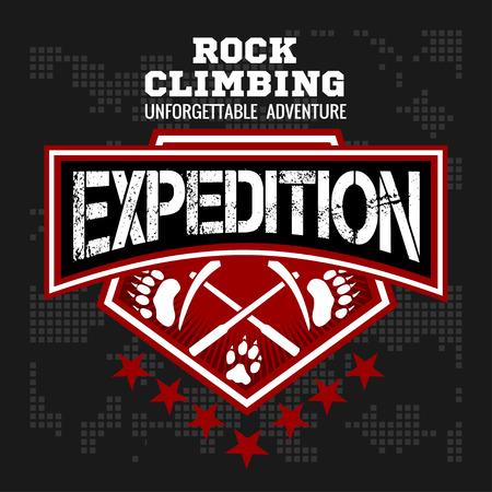 Escalada expedición. Montañismo - vector emblema sobre fondo oscuro.