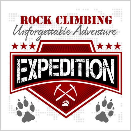 Escalada expedición. Montañismo - vector emblema sobre fondo blanco.