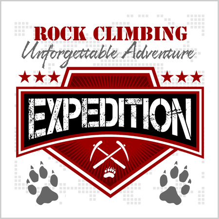 extreme sports: Rock climbing expedition. Mountain climbing - vector emblem on white background.