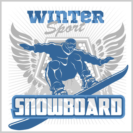snowboarder: Snowboarder at jump in mountains. Vector illustration. Illustration