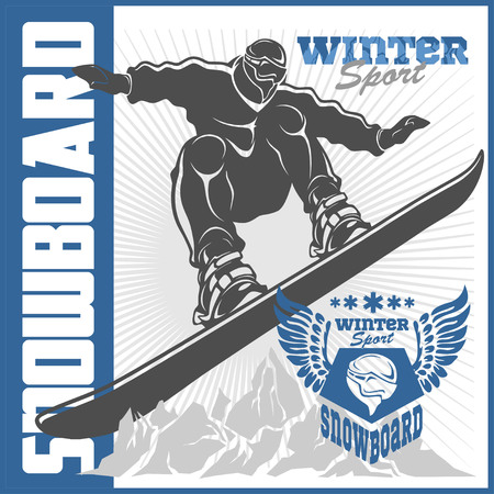 snowboarding: Snowboarding emblem and designed elements. Extreme winter games, outdoors adventure.