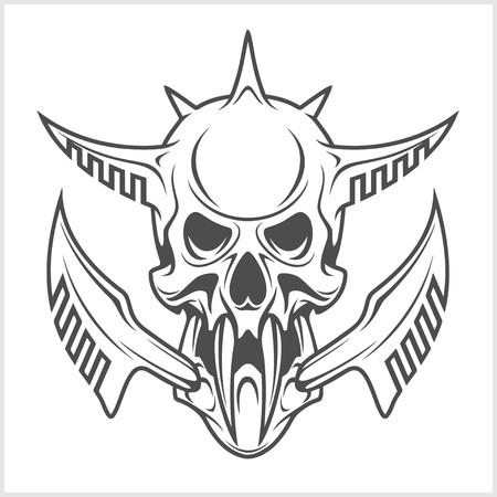 terminator: Cyber punk robot skull isolated on white