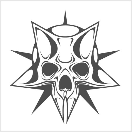 antichrist: Cyber Skull in Star isolated on white