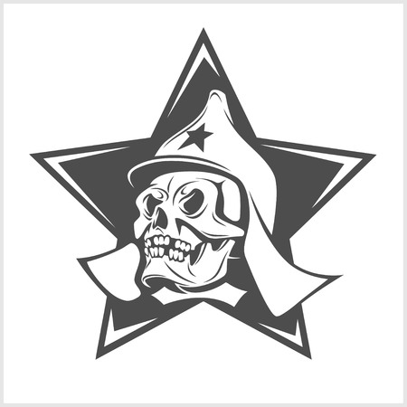 Uni soviet star and USSR skull isolated on white Illustration