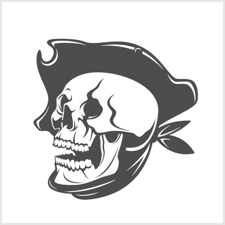 filibuster: Pirate Skull and hat on white background. Illustration