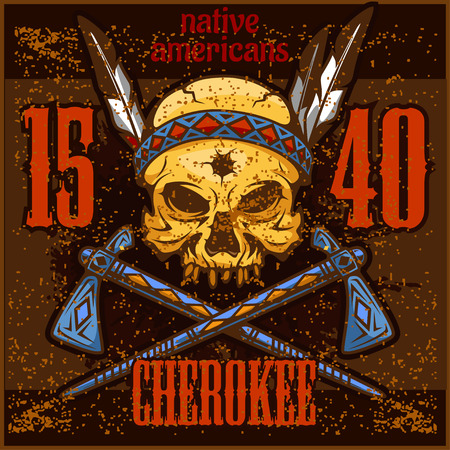 cherokee indian: Cherokee - Skull of an indian warrior vector illustration. War paint and native american feathers headwear. Illustration