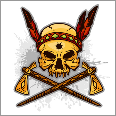 war paint: Skull of an indian warrior vector illustration. War paint and native american feathers headwear. Isolated on white. Illustration