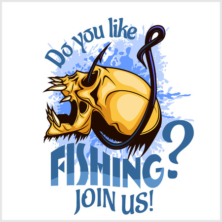 hook like: Fisherman - skull and hook. Vector Illustration with sample text