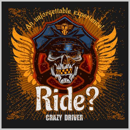 exited: Crazy driver - skull and taxi emblem.
