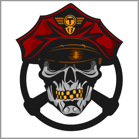 exited: Crazy driver - skull and taxi emblem. Isolated on white. Illustration