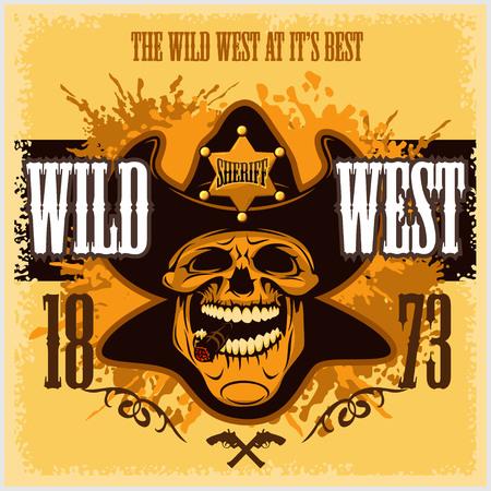 gang member: Vintage wild west poster - cowboy skull with old paper texture background Illustration
