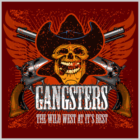 cartoon gangster: Gangster skull with cowboy hat and pistols - grunge vintage poster