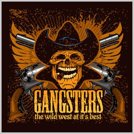 calavera caricatura: cr�neo G�ngster con el sombrero de vaquero y pistolas - cartel del grunge de la vendimia Vectores