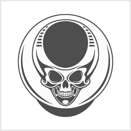 devil's bones: Demon scary Skull isolated on white background Stock Photo