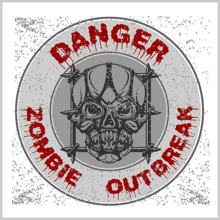 keep in: Poster Zombie Outbreak. Zombie Apocalypse. Sign board with zombie, hand-written fonts, words Zombie Outbreak Biohazard Keep Out and textures. vector illustration. grunge effect in separate layer. Illustration