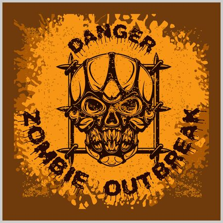 Poster Zombie Outbreak. Zombie Apocalypse. Sign board with zombie, hand-written fonts, words Zombie Outbreak Biohazard Keep Out and textures. vector illustration. grunge effect in separate layer. Illustration