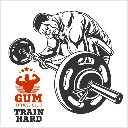 male bodybuilder: Bodybuilder and Bodybuilding logotype sign symbol.
