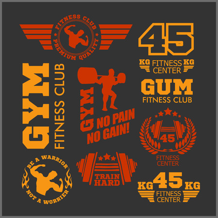 circular muscle: Set of two color sports and fitness logo templates. Gym logotypes. Athletic labels and badges made in vector. Bodybuilder, fit man, athlete icon. Illustration