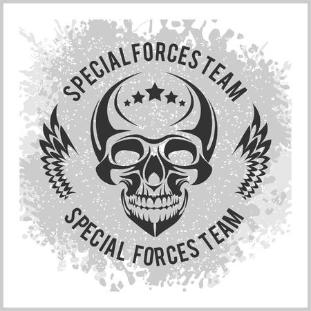 Grunge emblem with skull - vector military design Vector Illustration