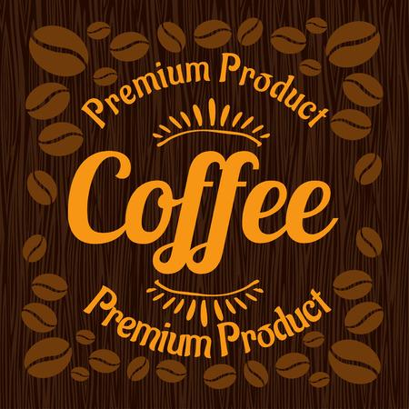 wooden panel: Vintage retro coffee badge on wooden panel - vector illustration