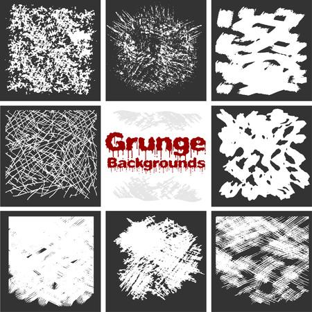 grunge textures: Grunge textures set - white on dark background. Illustration