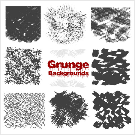 grunge textures: Grunge textures set - gray on white background.