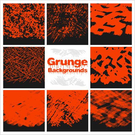 grunge textures: Grunge textures set - red on dark background. Illustration
