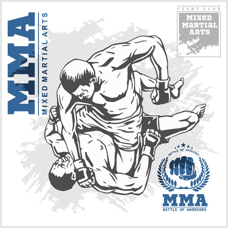 Match two fighters of martial mixed arts on grunge background and labels. Illustration