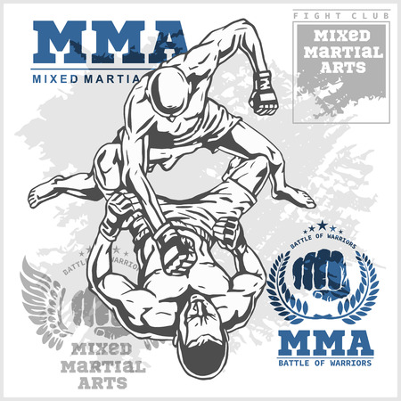 Coincidir con dos luchadores de artes marciales mixtas en el fondo del grunge y etiquetas.
