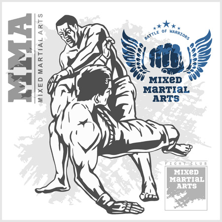 sport man: Match two fighters of martial mixed arts on grunge background and labels. Illustration