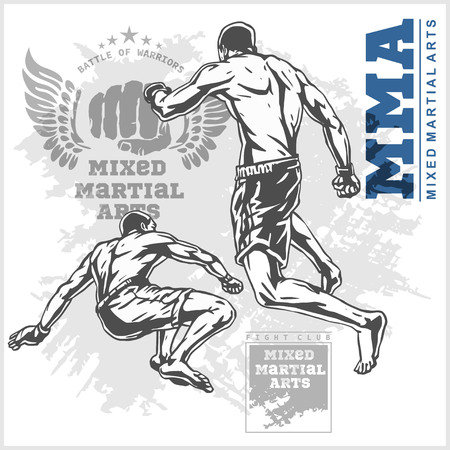 rash: Match two fighters of martial mixed arts on grunge background and labels. Illustration