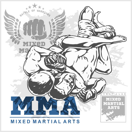 Match two fighters of martial mixed arts on grunge background and labels. Vettoriali